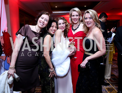 Ann Navaro, Amy Lu, Severina Mladenova, Co-Chair Elizabeth Blalack, Amy Savopoulos. Photo by Tony Powell. Heroes Curing Childhood Cancer Gala. Four Seasons. February 22, 2014