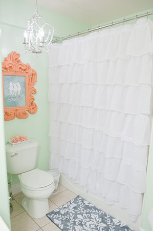 Mint/Coral Bathroom