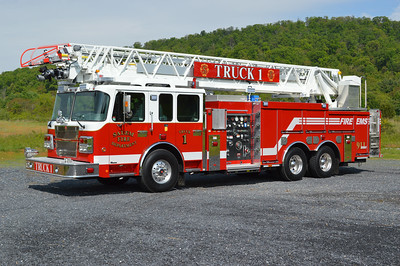 Salem, Virginia (near Roanoke) Truck 1, a 2016 Smeal Sirius 105' and equipped with a 2000/480/20.  Serial number 612240.  Truck 1 was photographed just after being delivered to Keplinger Repair in Winchester, VA for additional work prior to being delivered to Salem.
