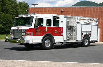 Glasgow Volunteer Fire Department - Rockbridge County Station 2.  Squad 2 is this 2012 Pierce Impel, 1500/750/50/30.