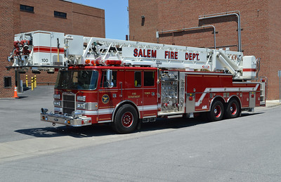 Salem, Virginia Tower 1 was photographed in June of 2016 shortly before being placed out of service and replaced with a 2016 Smeal Sirius 105' ladder.  Tower 1 is a 1995 Pierce Lance 100' equipped with a 1500/200 and assigned Pierce job number E9523.