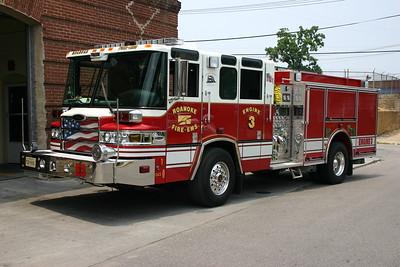 Roanoke City, VA Engine 3.  2005 Pierce Quantum.  1500/750/40 with job number 16647,