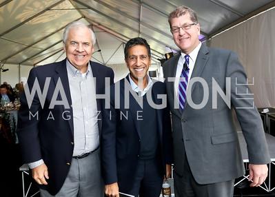 Knox Singleton, Steve Clemons, Dr. Sanjay Gupta. Photo by Tony Powell. INOVA Summit Luncheon. Salamander Resort. November 8, 2014