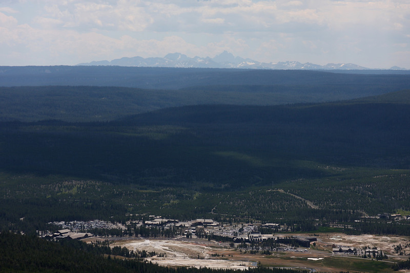 Old Faithful, Yellowstone Lodge and the Grand Tetons