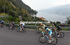 The escape is skirting the Lake of Lecco on its way to the first big climb...