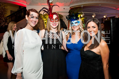 Lily Johnson, Michelle Dunleahy, Melanie Soley, Emily Fuerse. Photo by Tony Powell. Imagine! Masquearde Ball. Carnegie Library. October 28, 2014