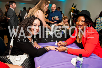 Evelyn Ortiz, NYS Entertainment's Jennifer Williams. Photo by Tony Powell. Imagine! Masquearde Ball. Carnegie Library. October 28, 2014