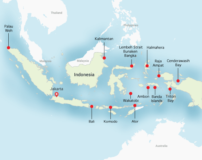 Divehappy Indonesia Diving map