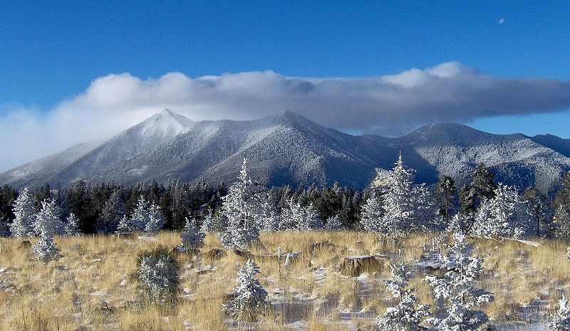 From Flagstaff, the elevation gain of the San Francisco Peaks is nearly 7,000 feet. A considerable elevation gain considering the surrounding terrain.<br /> <br /> Without adhering to proper and accurate navigation, a pilot could very easily become a statistic in this mountainous country.