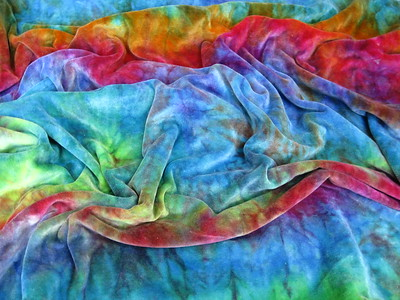 """""""Rainbow-ish"""" Hand Dyed Bamboo Velour & Knit Print Baby Blanket"""