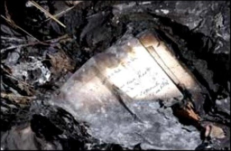 Burned pages of a journal lay amid other debris at the crash site. (Arizona Daily Sun)