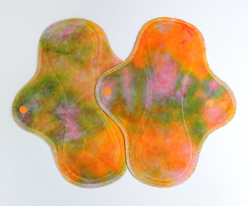 TWO Regular Flow Wrap Wing Pads - dyed by Tripletts Tie Dye