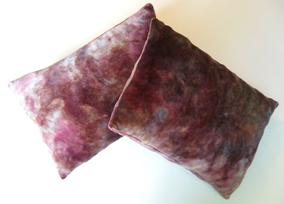 "Set of TWO Travel Size Bamboo Velour Pillows - ""mahogany"""