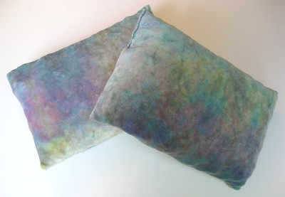 "Set of TWO Travel Size Bamboo Velour Pillows - ""spring"""