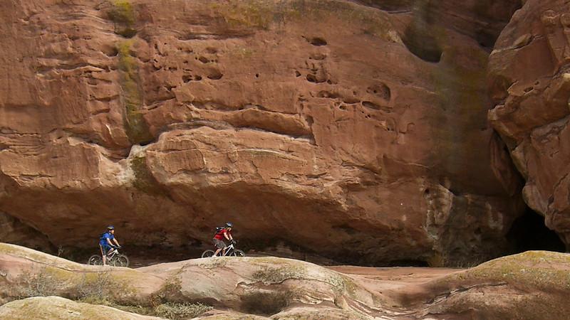 Cam and Kenzie riding near Bradford Rocks in Ken Caryl Open Space Feb. 2, 2006.