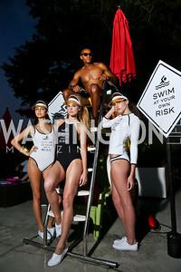 Katrina Pavic, Casandra Tressler, Matthew Brown, Maggie Parsons. Photo by Tony Powell. Karla Colletto X Design Army Pool Party. Capitol Skyline Hotel. August 22, 2014