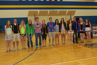 Senior class adviser presented the Senior honor student cords. In order of class rank: Shelby Schiefelbein, Cameron Hunt, Stacy Hurrle, Hollie Donnay, Ben Serbus, Alexis Rose, Luke Merten(not pictured), Erin Diffley, Mathias Hennen, McKenzie Libbesmeier, Matthew Donnay, Rebecca Frank, Megan Bisila, Karlee Beehler. Left to right:Shelby Schiefelbein, Cameron Hunt, Stacy Hurrle, Hollie Donnay, Ben Serbus, Alexis Rose, Mathias Hennen, McKenzie Libbesmeier,Rebecca Frank,Erin Diffley, Matthew Donnay,  Megan Bisila, Karlee Beehler