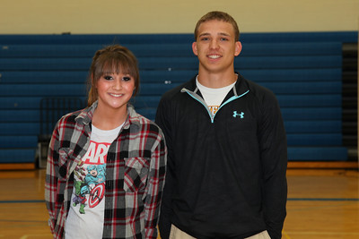 Jaycee Thompson and Cameron Hunt received scholarships for Catholic United Financial.