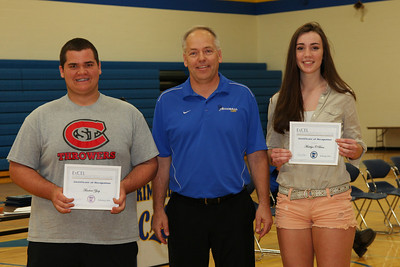 2013 EXCEL Award Winners Ted Zipoy and Maddie O'Brien with Activities Director Bruce Holmseth.