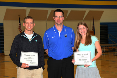 KDUZ Outstanding Senior Scholar awards Cameron Hunt and Shelby Schiefelbein presented by Jay Klein
