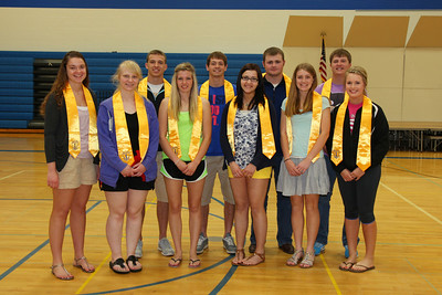 Senior National Honor Society Members: Rebecca Frank, Megan Bisila, Cameron Hunt, Stacy Hurrle, Mathias Hennen, McKenzie Libbesmeier, Austin Schiefelbein, Shelby Schiefelbein, Ben Serbus, Alexis Rose