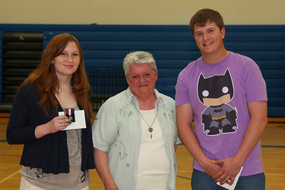 Dorothy Serbus awarded the Kimball Legion Auxilary Citizenship Pin to Erin Diffley and the Dennis Serbus Memorial Scholarship to Ben Serbus.
