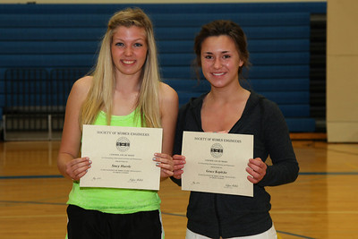 The Society of Women Engineers awarded a Certificate of Merit to Stacy Hurrle and Grace Kopitzke for outstanding achievement in Science and Mathmatics.