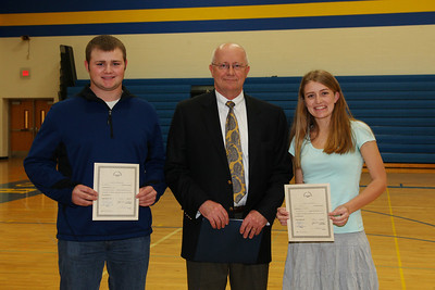 Mark Wood presented the Louis Roberg Trust Scholarship to Austin Schiefelbein and Shelby Schiefelbein.