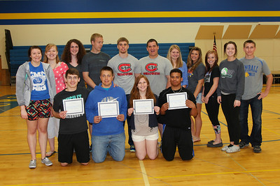 Student Government, Youth Leadership Awards awarded to Caleb Anderson, Adam Laabs, Erin Diffley and Devon Kelley (posed in front row) Back row: Holly Dahlinger, Danielle Helgeson, Caitlin O'Brien, Logan Schlueter, Tyler Smith, Ted Zipoy, Mady Jansky, Ariel Laabs, Denzel Atherton, Macey Hurrle, Tommy Lochen