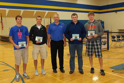 Outstanding Senior Athlete Award, Mathias Hennen, Cameron Hunt, AD Bruce Holmseth, Austin Schiefelbein, Markus Mehr.
