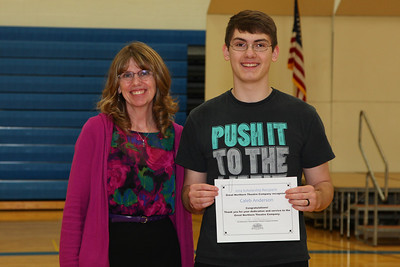 Vicki Meyer presented Caleb Anderson with a scholarship for the Great Northern Theater Company. The group is based out of Cold Spring and this is the first time that the award has been given to a student outside of Rocori High School.