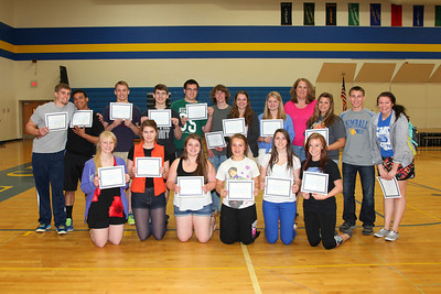 Members of the Hungar Squad received certificates for the outstanding achievements this year. Front: Megan Bisila, McKenzie Dammann, Carlee Beehler, Lauren Libbesmeier, Taylor Schreiner, Denzel Atherton Back: Tyler Smith, Devon Kelley, Bradey Mehr, Caleb Anderson, Jake Leither, Josh Miller, Rebecca Frank, Mady Jansky, Ariel Laabs, Tommy Lochen, Holly Dahlinger Far Back: Adviser Kris O'Brien.
