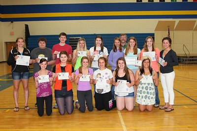 Band Awards for State Solo and Ensemble. Front: Hayley Schiefelbein, McKenzie Dammann, Kaitlyn Truenow, Lauren Libbesmeier, Carlee Beehler, Tessa Mackereth Back: Stephanie Hurrle, David Doran, Blake Gagnon, Stacy Hurrle, Olivia Straley, Kari Schiefelbein, Shelby Schiefelbein, Ashlee Ahlrich, Grace Gopitzke Far Back: Director Keith Haake.