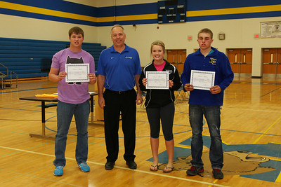 Senior Athlete Awards, Ben Serbus, AD Bruce Holmseth, Alexis Rose, Matt Donnay.