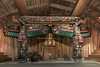 Raven and wolf totems inside the Big House, Klemtu, BC