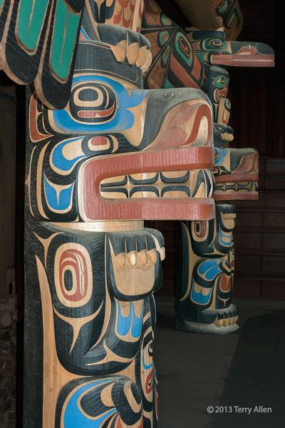 Close-up of wolf figure, Big House, Klemtu, British Columbia