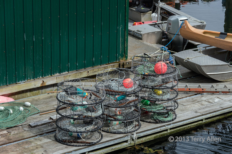 Crab pots on the wharf, Klemtu, BC<br /> <br /> There is a thriving fishery for Dungeness crabs in this area and I can vouch for how delicious they are.
