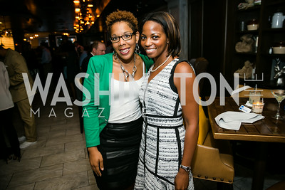 "Latoya Lewis, Ashley McNeil-Coleman. Photo by Alfredo Flores. Knock Out Abuse Jr. Board ""Party for a Cause."" Teddy and The Bully Bar. July 10, 2014"