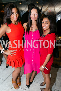 "Jessie Barnes, WPGC radio host Sunni, Tiffanie Wagner. Photo by Alfredo Flores. Knock Out Abuse Jr. Board ""Party for a Cause."" Teddy and The Bully Bar. July 10, 2014"