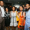 """Emile Thompson, Manal Elhag, Ashley McNeil-Coleman, Deana Lewis, Jason McGowan. Photo by Alfredo Flores. Knock Out Abuse Jr. Board """"Party for a Cause."""" Teddy and The Bully Bar. July 10, 2014"""