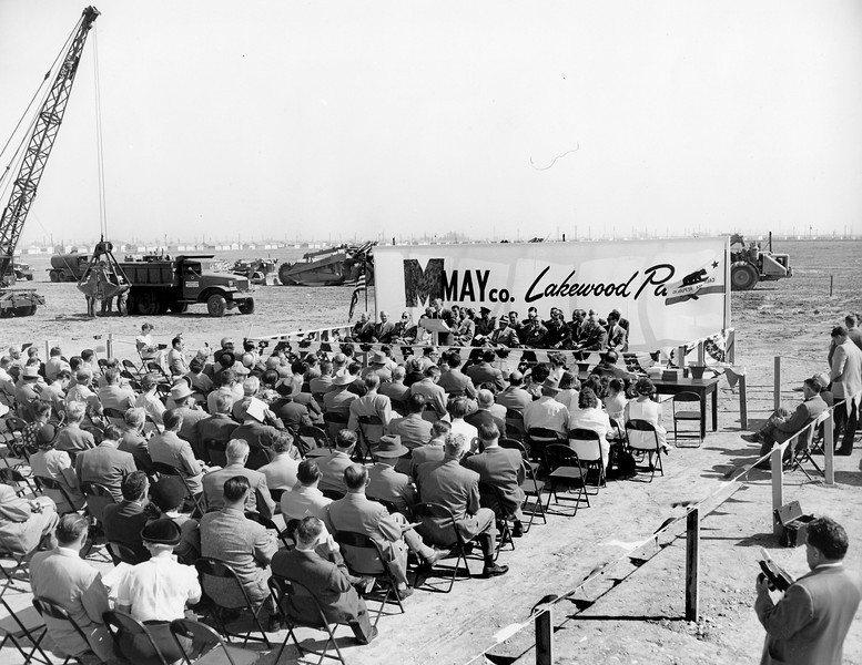 """Groundbreaking for the May Company building took place on October 14, 1950 as 300 business leaders and state and county officials looked on.<br /> <br /> The developers of Lakewood made Lakewood Center the new community's """"downtown"""" – a novel idea in 1950. Surrounded by thousands of homes, the new shopping center was just minutes away from shoppers. <br /> <br /> Surveys showed that nearly 25 percent of prospective consumers in Los Angeles County were located within a 30-minute driving radius. As the west's largest shopping center, promoted as """"the 154-acre 'shopping heart' of Lakewood"""" (260 acres if the parking lot acreage was included), Lakewood Center would be a city in itself."""