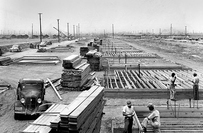 Building homes on a assembly-line basis, 1950