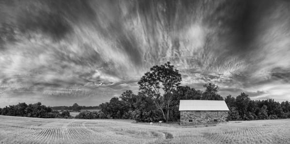 Seneca Stone Barn, Monochrome Panorama