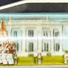 Back: The White House<br /> Front:  The White House with soldiers <br /> Floater: marching soldiers <br /> Style: Classic<br /> Color: blue<br /> Cost: $6.00<br /> Category: Washington DC