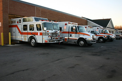 Apparatus line-up at Rescue Squad 13 several years ago.