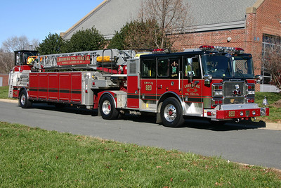 "Leesburg's 2007 Seagrave Marauder 100' tiller changed its designation from Truck 601 to ""Truck 620"" when the department placed into service their 2002 Pierce Dash 105' rearmount in 2011.  Leesburg's 2002 Pierce is a reserve ladder and kept at Fire Station 1 in downtown Leesburg when not in service.  Truck 620, the Seagrave tiller, runs from the main station (Fire Station 20) and thus has the designation of Truck 620.  Truck 620 was photographed next to Fire Station 20 in November of 2011."