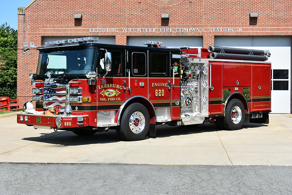 Leesburg Engine 620, a 2016 Pierce Enforcer 1500/750/30 with job number 30156.  The mural's of the department's 1929 Seagrave are on the front doors.  Dedicated to J.B. Anderson II with mural's and the bell on the front bumper.  Engine 620 was photographed in August of 2017.  This Pierce will also run as Engine 601 as Leesburg's two stations will swap engines at times.