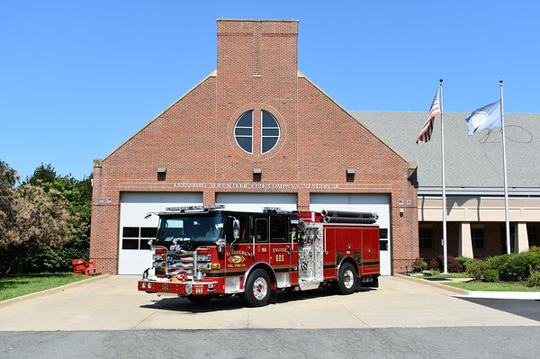 Engine 620 sitting in front of Fire Station 20 in Leesburg, Virginia.  Photographed in August of 2017.