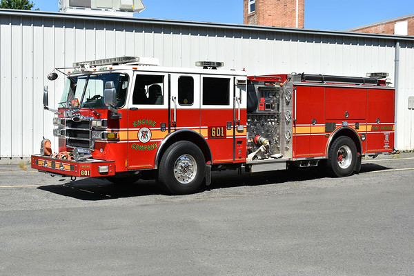 Loudoun County, Virginia Reserve Engine - a 2007 Pierce Dash 1500/750/50 with job number 19355-02.  Originally delivered to Lucketts as Engine 610, the Pierce was running at Leesburg as Engine 601 when photographed in August of 2017.