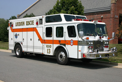 Old Squad 13 just prior to being replaced by the 2009 Pierce Lance.  This photograph was taken at Fire Station 20 in Leesburg when the squad was at Station 20 for training.